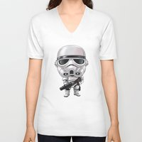 storm trooper V-neck T-shirts featuring STORM TROOPER by Leoren