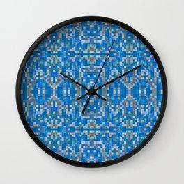 Blue Gray Mosaic Pixels Wall Clock