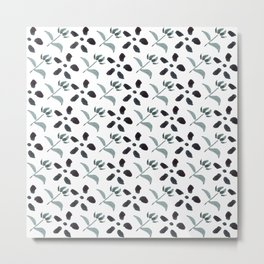 Little Frowers ( Pattern Paynes Grey) Metal Print