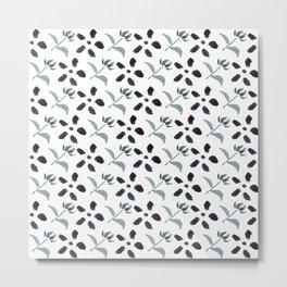 Little Frowers ( Pattern Paynes Grey) Metal Print