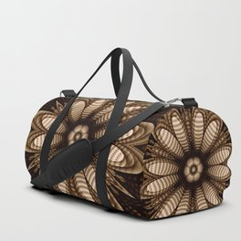Abstract flower mandala with geometric texture Duffle Bag