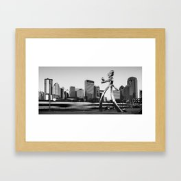 Traveling Man - Dallas Skyline Panorama - Black and White Framed Art Print
