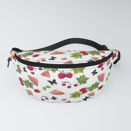 Seamless Fruits Berries Watercolor Cartoon Cute White Pattern Fanny Pack