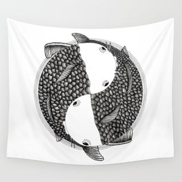 Pisces - Fish Koi - Japanese Tattoo Style (black and white) Wall Tapestry