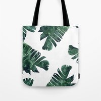 banana leaf Tote Bags featuring Banana Leaf Watercolor Pattern #society6 by 83 Oranges™