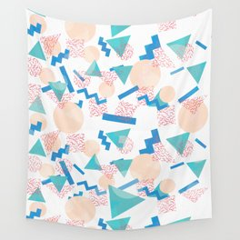 90's Pastel Geometric Pattern Wall Tapestry