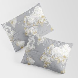 Detailed marble world map in gold and grey Pillow Sham