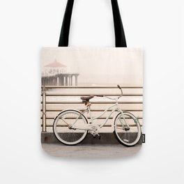 Bicycle at Manhattan Beach Pier, Riding Bikes at the Beach, Beach Art Print, California Summer Tote Bag