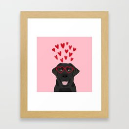 Black Lab love hearts glasses labrador retriever valentines day gifts Framed Art Print