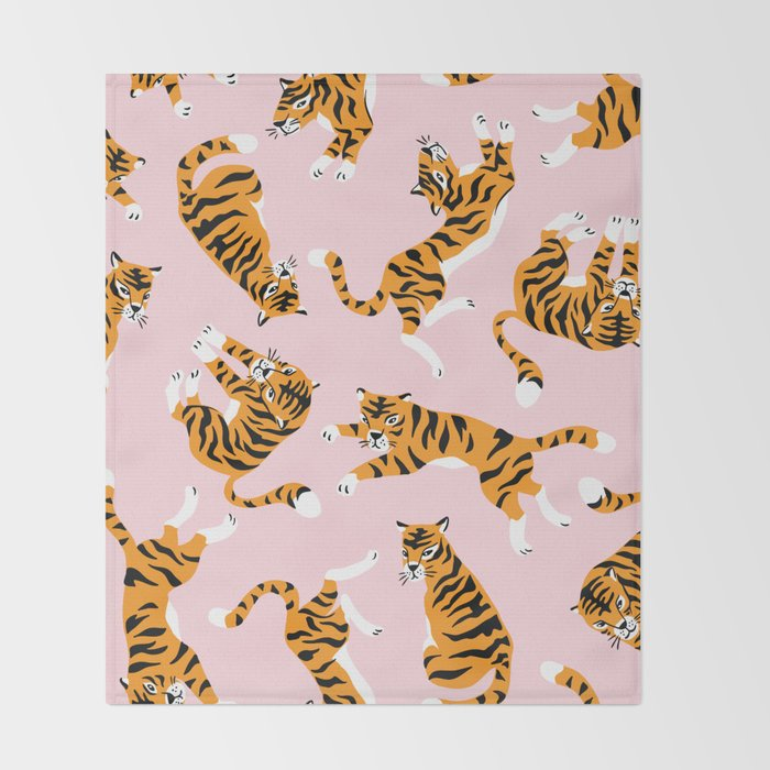 Cute tiger in the tropical forest hand drawn on pink background illustration Throw Blanket