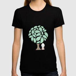 Little Buddha meditating under a tree T-shirt