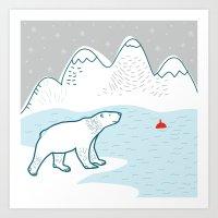 polar bear Art Prints featuring polar bear by LOLIA-LOVA