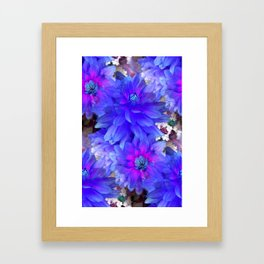 Blue Dahlias Framed Art Print