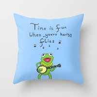 muppets Throw Pillows featuring Muppets Kermit by BlackBlizzard