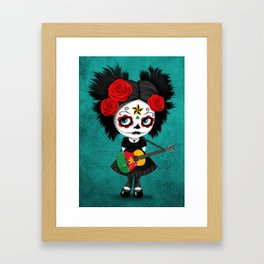 Day of the Dead Girl Playing Cameroon Flag Guitar Framed Art Print