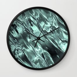 Shiny Sea Glass Reflection, Teal, Ocean Water Waves Wall Clock