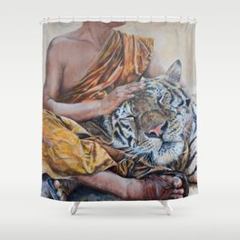 Rest Your Head - Tiger with Buddhist Monk Shower Curtain