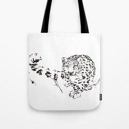 Ink Snow Leopard Tote Bag