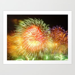 colourful abstract design created by fireworks Art Print