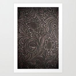 Distressed Smoky Tooled Leather Kunstdrucke