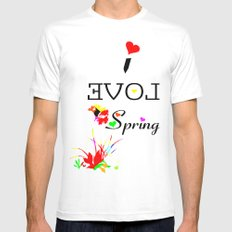 I LOVE SPRING  Mens Fitted Tee MEDIUM White