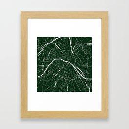 Paris France Minimal Street Map - Forest Green Framed Art Print