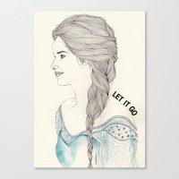 frozen elsa Canvas Prints featuring Elsa (Frozen) by Kaethe Butcher