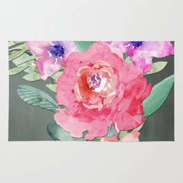 Watercolor Lily Cascade Still Life Rug