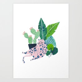 Fat Plant Kitty Art Print