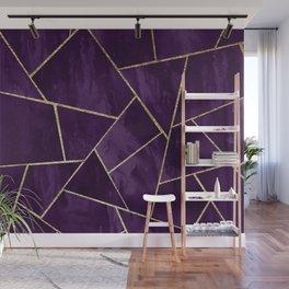 Dark Purple Ink Gold Geometric Glam #1 #geo #decor #art #society6 Wall Mural