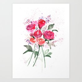 Abstract Watercolor Red Roses Art Print