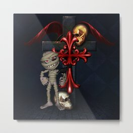 Halloween, funny mummy with crow Metal Print