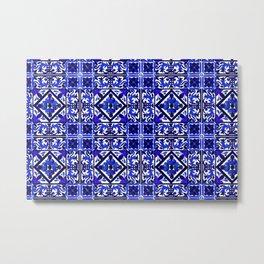 Arabesque,boho,blue china detailed pattern Metal Print
