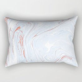 Blue Orange Marble Retro Marble Paper Rectangular Pillow