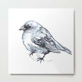 Bird on a Branch, watercolor Metal Print