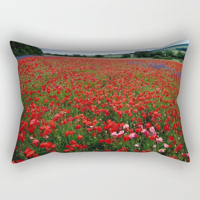 Pink Poppies in a field of Red Rectangular Pillow