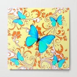 DECORATIVE BLUE BUTTERFLIES YELLOW FLORAL PATTERN Metal Print