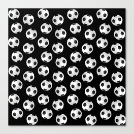 Soccer Ball Pattern-Black Canvas Print