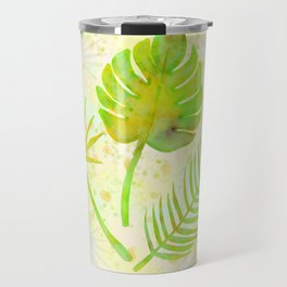 Tropical Leaf Watercolor Painting, Green Palm Tree Leaves Travel Mug