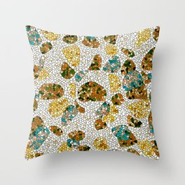 Gold, Copper, and Blue Mosaic Abstract Throw Pillow