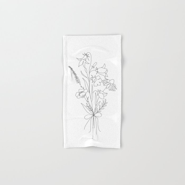 Small Wildflowers Minimalist Line Art Hand & Bath Towel