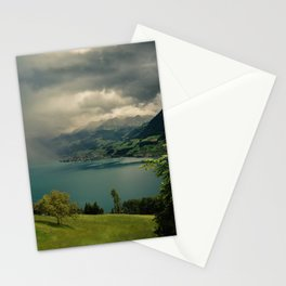 arising storm over lake lucerne Stationery Cards