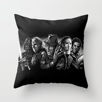 michael myers Throw Pillows featuring Freddy Krueger Jason Voorhees Michael Myers leatherface Darth Vader Blackest of the Black by Scott Jackson Monsterman Graphic
