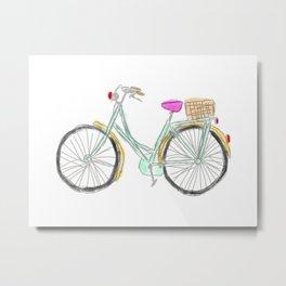 My new bike - digital watercolor bike art Metal Print