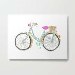 My new bike - digital watercolor bike art Metal Print