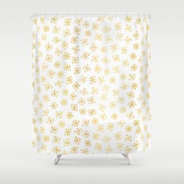 Luxe Golden Foil Snowflake Seamless Pattern Background, Elegant Hand Drawn Shower Curtain