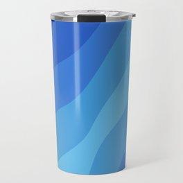 Shades of Blue Sea Wave Stripes  Travel Mug