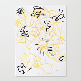 Squiggle Design Yellow Canvas Print