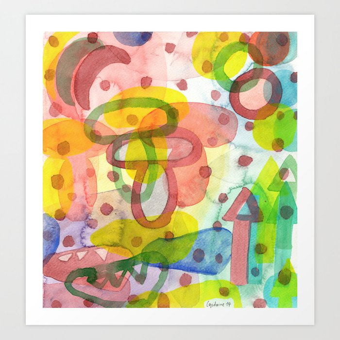Blurry Mushroom and other Things Art Print