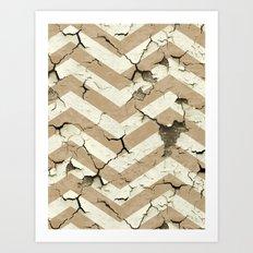 Peeling Chevrons Taupe Art Print